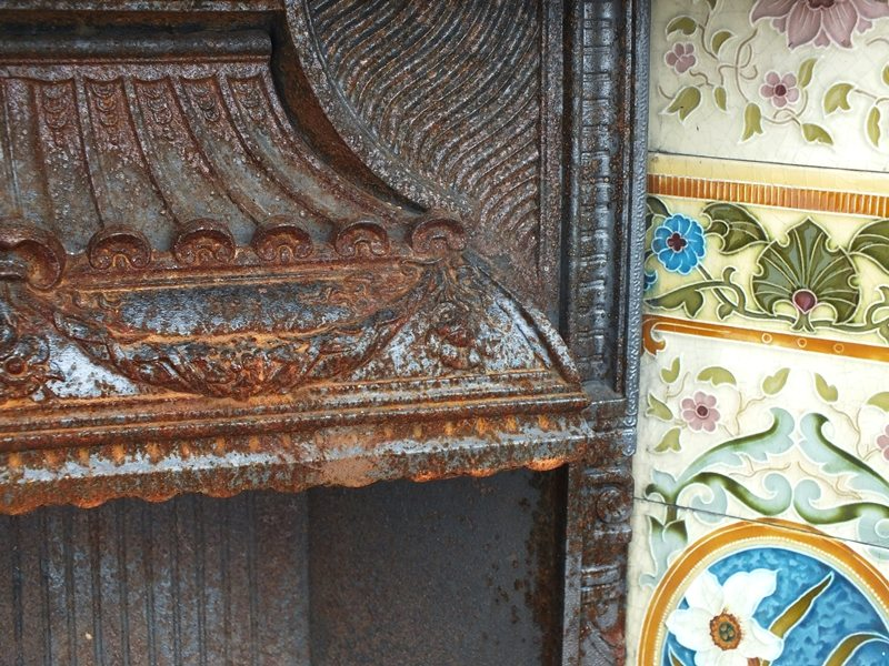 Reclaimed Victorian tiled fireplace