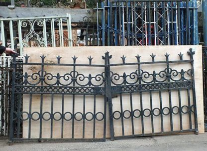 Heavy wrought iron gates