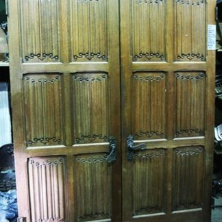 Pair of Oak Linen/ Walnut Doors