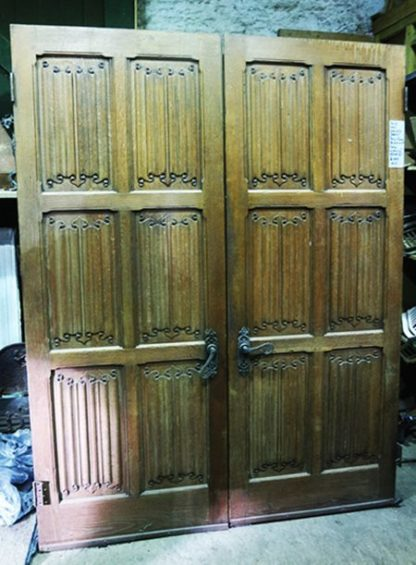 Pair of Oak Linen/ Walnut Doors