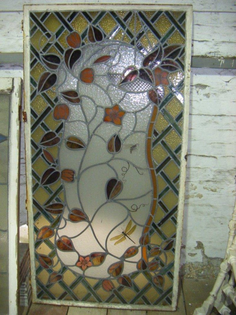 Insect design stained coloured glass