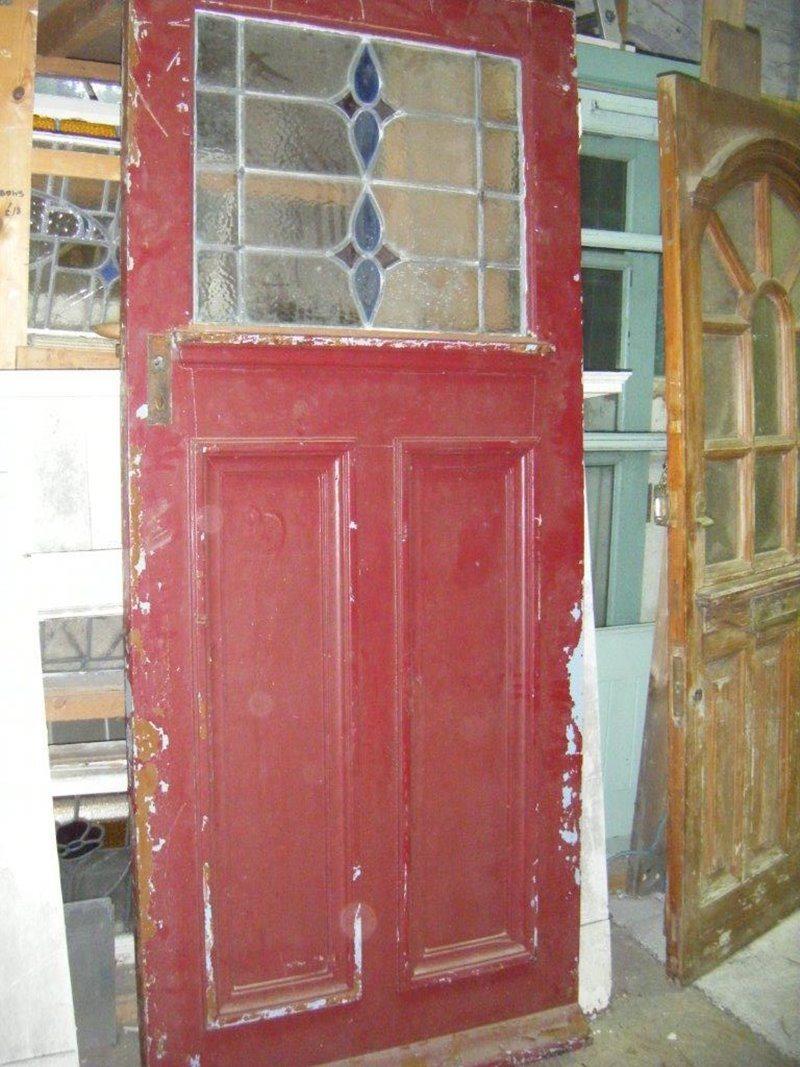 Reclaimed Door with Coloured Glass