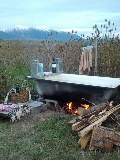 outdoors hot tub