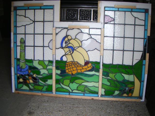 Seascape leaded window