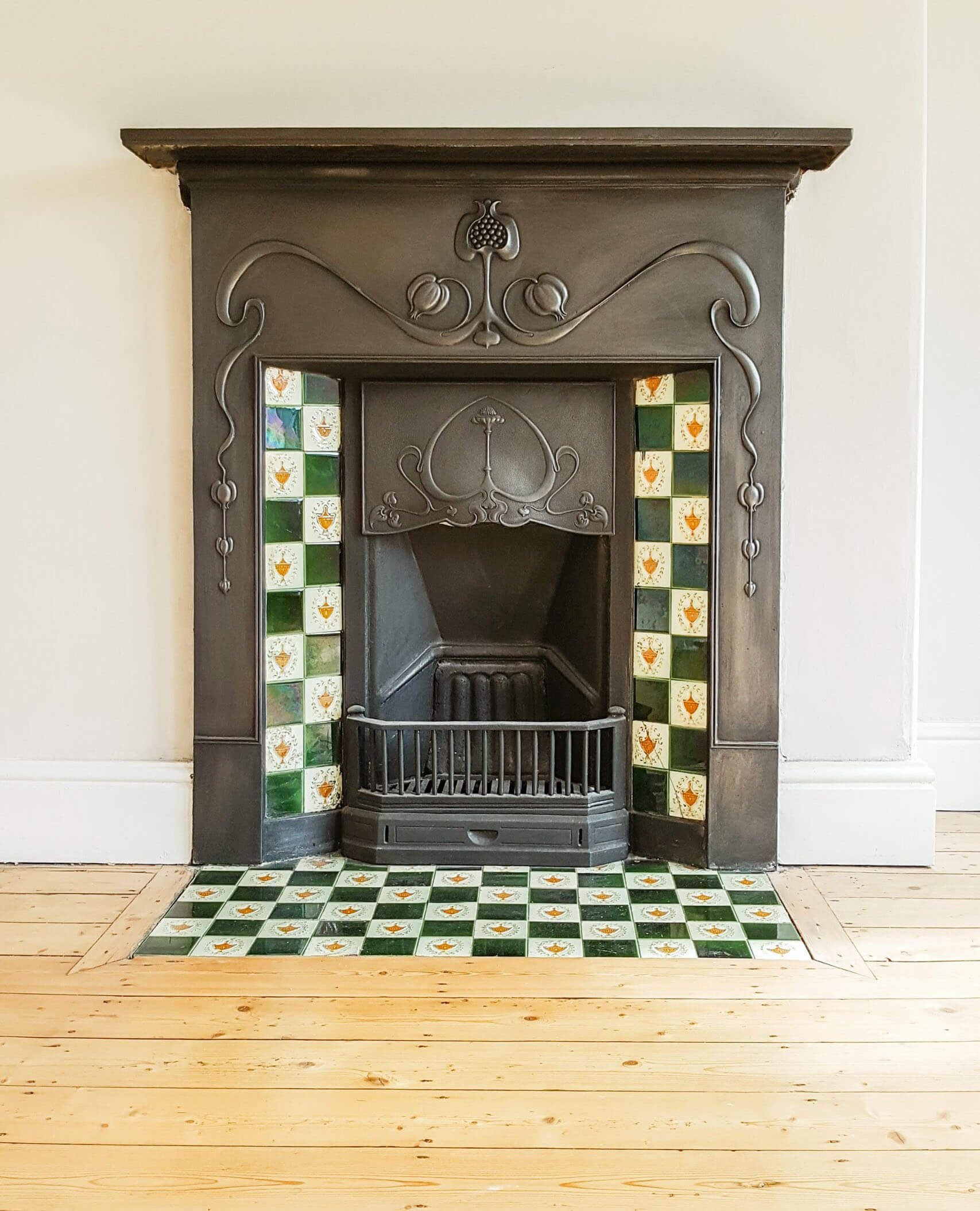 Tiled hearth and sides