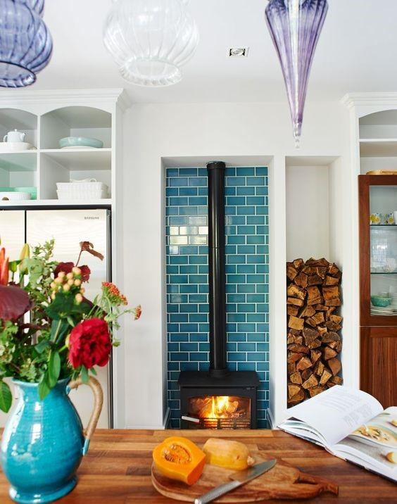 Wood burner blue tiles